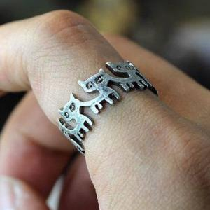 Cut Out Kitten Shape Ring - SILVER ONE-SIZE