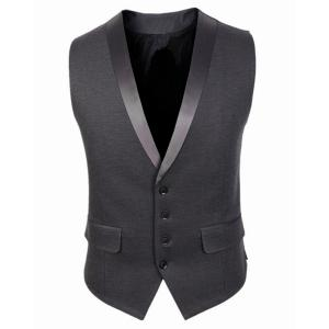 Single Breasted Sleeveless Formal Waistcoat - Gray - L