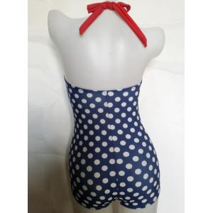 Vintage Halter Polka Dot Print Hollow One Piece Swimsuit For Women -