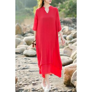 Ethnic Style V-Neck 3/4 Sleeve Asymmetrical Dress For Women