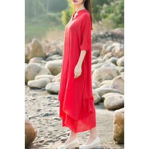 Ethnic Style V-Neck 3/4 Sleeve Asymmetrical Dress For Women - RED XL