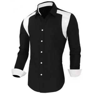 Color Block Spliced Design Turn-Down Collar Long Sleeve Men's Shirt -