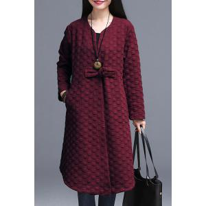 Trendy V-Neck Long Sleeve Polka Dot Cheongsam Button Women's Coat