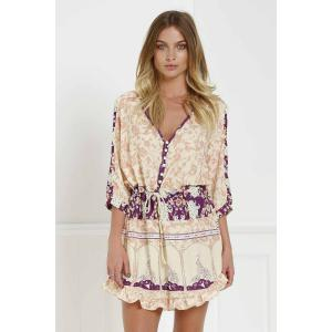 Stylish V-Neck 3/4 Sleeve Floral Print Loose-Fitting Women's Tunic Dress - Colormix - Xl