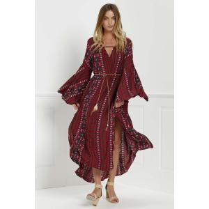 Tribal Print Bell Sleeve Maxi Flowy Dress - Red - L