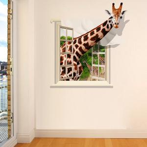 Chic Giraffe Pattern Window Shape Removeable 3D Wall Sticker - Colormix - 60*90cm