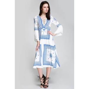 Long Sleeve Printed Romantic Boho Swing Beach Dress - Blue And White - S