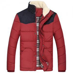Flocking Stand Collar Splicing Design Long Sleeve Thicken Men's Cotton-Padded Jacket - Wine Red - S