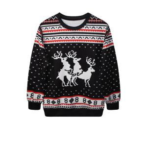 Trendy Round Neck Long Sleeve Elk Print Women's Christmas Sweatshirt