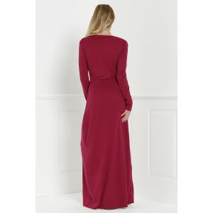 Long Formal Prom Dress with Sleeves - WINE RED L