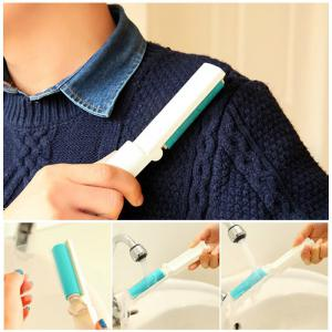 Portable Reusable Sticky Lint Roller Pet Hair Remover Dust Cleaner - WHITE