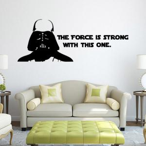 w-2  Darth Vader Alphabet Style Removable Wall Sticker Water Resistant Home Art Decals -
