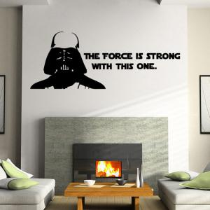 w-2  Darth Vader Alphabet Style Removable Wall Sticker Water Resistant Home Art Decals - BLACK