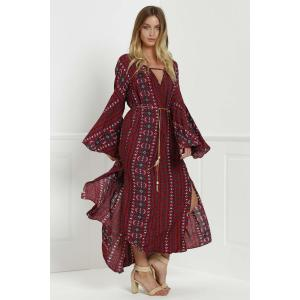 Tribal Print Bell Sleeve Maxi Flowy Dress - RED S