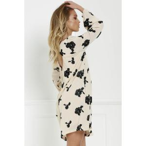 Long Sleeve Floral Embroidered Tunic Dress -