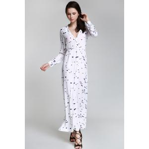 Shirt Neck Long Sleeve Ink Print Maxi Swing Dress - WHITE S