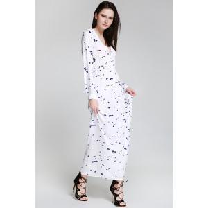 Shirt Neck Long Sleeve Ink Print Maxi Swing Dress -