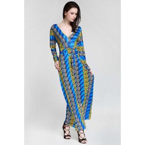 Plunge Long Sleeve Printed Maxi Dress - SAPPHIRE BLUE XL