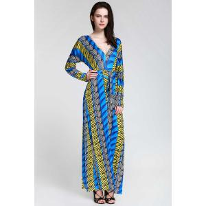 Plunge Long Sleeve Printed Maxi Dress - Sapphire Blue - Xl