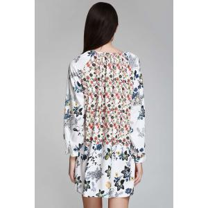 Bohemian V-Neck Tiny Floral Print Tunic Dress - WHITE M