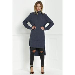 Turtleneck Knitted High Low Dress - Deep Blue - L