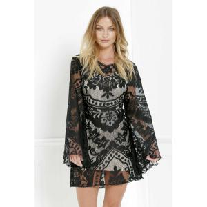 Mini Long Sleeve Lace Sheer Casual Dress - Black - S