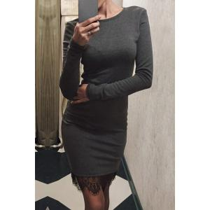 Stylish Round Neck Long Sleeve Lace Splicing Bodycon Women's Dress - Gray - S