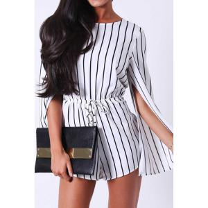Stylish Jewel Neck Long Sleeve Stripe Women's Romper - White And Black - One Size(fit Size Xs To M)