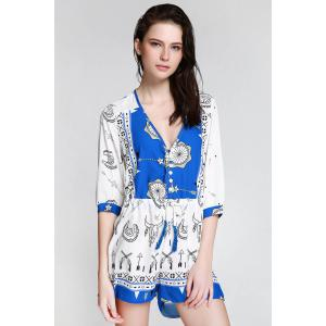 Stylish Plunging Neck 3/4 Sleeve Ethnic Print Women's Playsuit