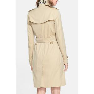 Stylish Turn Down Collar Long Sleeve Khaki Women's Trench Coat -