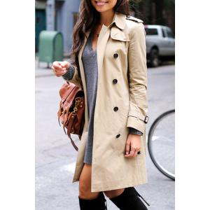 Stylish Turn Down Collar Long Sleeve Khaki Women's Trench Coat - LIGHT KHAKI S