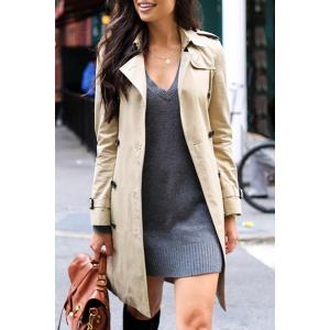 Stylish Turn Down Collar Long Sleeve Khaki Women's Trench Coat