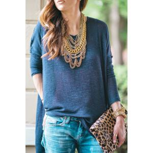 Stylish Round Neck Long Sleeve Open Back Women's Blue T-Shirt