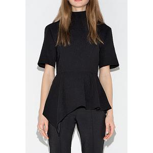 Stylish Turtle Neck Short Sleeve Black Women's T-Shirt - Black - L