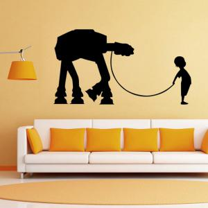 w-17 Boy AT-AT Walker Style Removable Wall Sticker Water Resistant Home Art Decals -