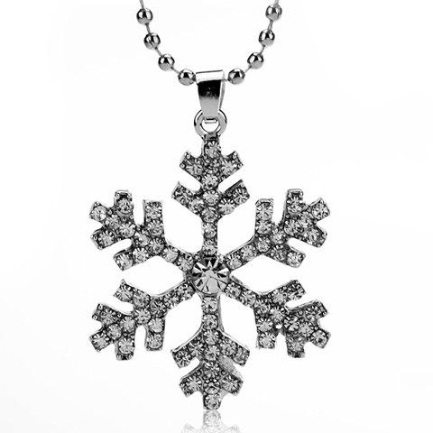 Cheap Alloy Snowflake Rhinestoned Pendant Necklace