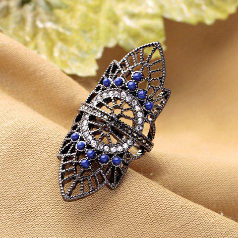 Discount Retro Rhinestoned Hollow Out Leaf Ring