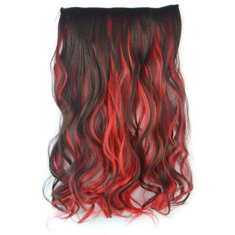 Best Stylish Long Fluffy Curly Stunning Deep Brown Mixed Red Synthetic Hair Extension For Women
