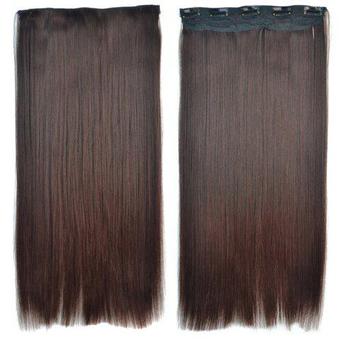 Online Attractive Brown Gradient Synthetic Fashion Long Glossy Straight Clip-In Hair Extension For Women