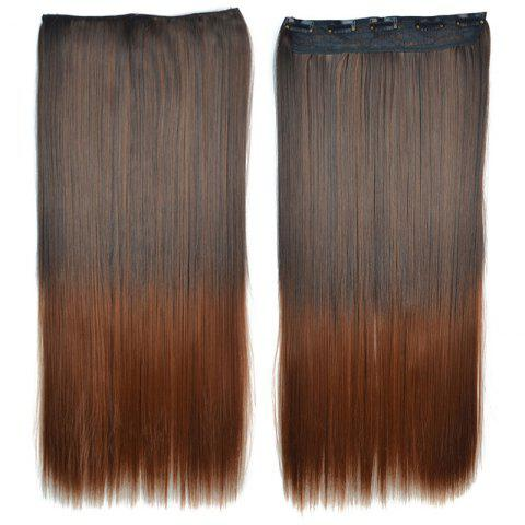 Trendy Trendy Long Brown Ombre Stunning Silky Straight Clip-In Synthetic Hair Extension For Women