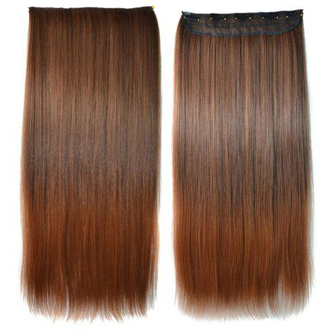 Store Elegant Silky Straight Clip-In Synthetic Trendy Long Light Brown Ombre Hair Extension For Women COLORMIX