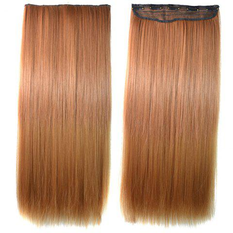 Shop Elegant Long Glossy Straight Clip-In Trendy Golden Ombre Synthetic Hair Extension OMBRE 1211#