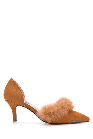 Outfits Stylish Faux Fur and Pointed Toe Design Women's Pumps