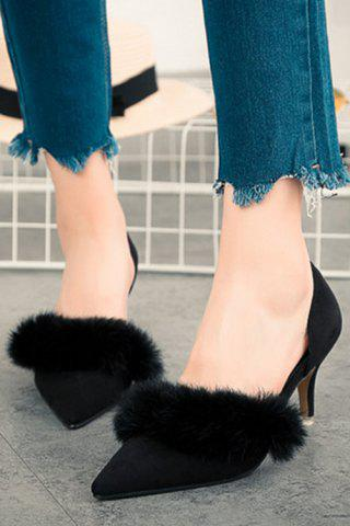 Store Stylish Faux Fur and Pointed Toe Design Women's Pumps - 36 BLACK Mobile