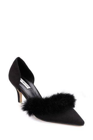 Stylish Faux Fur and Pointed Toe Design Women's Pumps - Black - 36