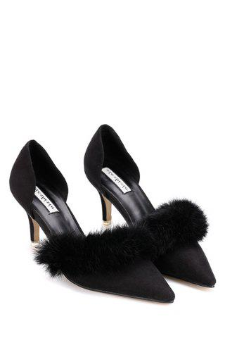 Chic Stylish Faux Fur and Pointed Toe Design Women's Pumps - 36 BLACK Mobile