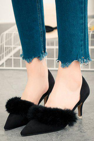 Shop Stylish Faux Fur and Pointed Toe Design Women's Pumps - 36 BLACK Mobile