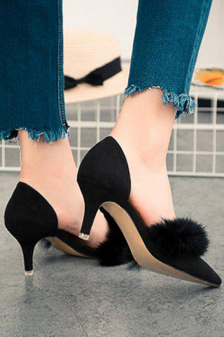 Hot Stylish Faux Fur and Pointed Toe Design Women's Pumps - 36 BLACK Mobile