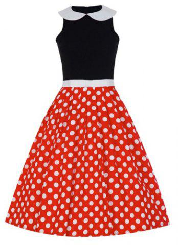 Fashion Sweet Peter Pan Collar Sleeveless Polka Dot Bowknot Embellished Women's Dress