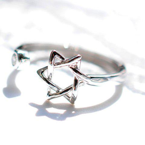 Latest Chic Rhinestone Hexagram Hollow Out Cuff Ring For Women